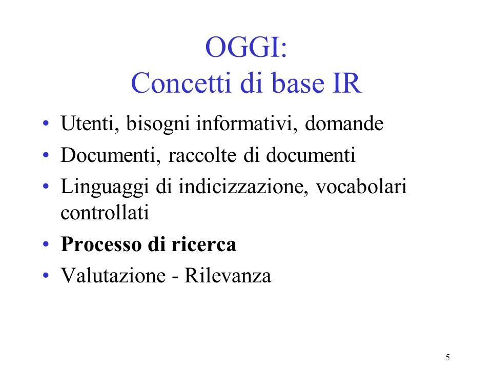 5 OGGI: Concetti di base IR Utenti, bisogni informativi, domande Documenti, raccolte di documenti Linguaggi di indicizzazione, vocabolari controllati Processo di ricerca Valutazione - Rilevanza