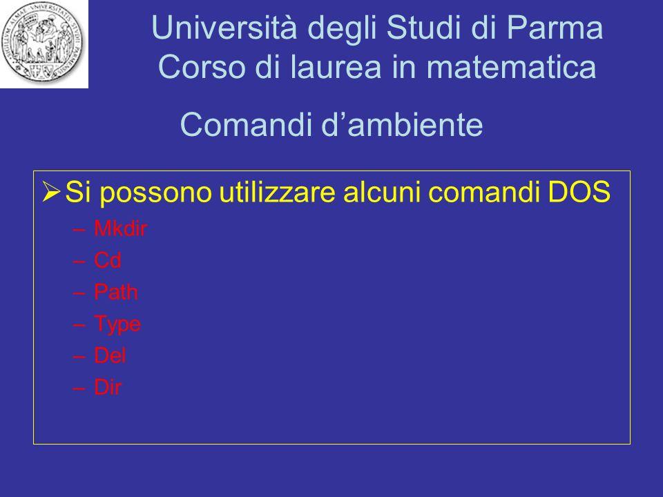 Università degli Studi di Parma Corso di laurea in matematica Comandi dambiente Si possono utilizzare alcuni comandi DOS –Mkdir –Cd –Path –Type –Del –
