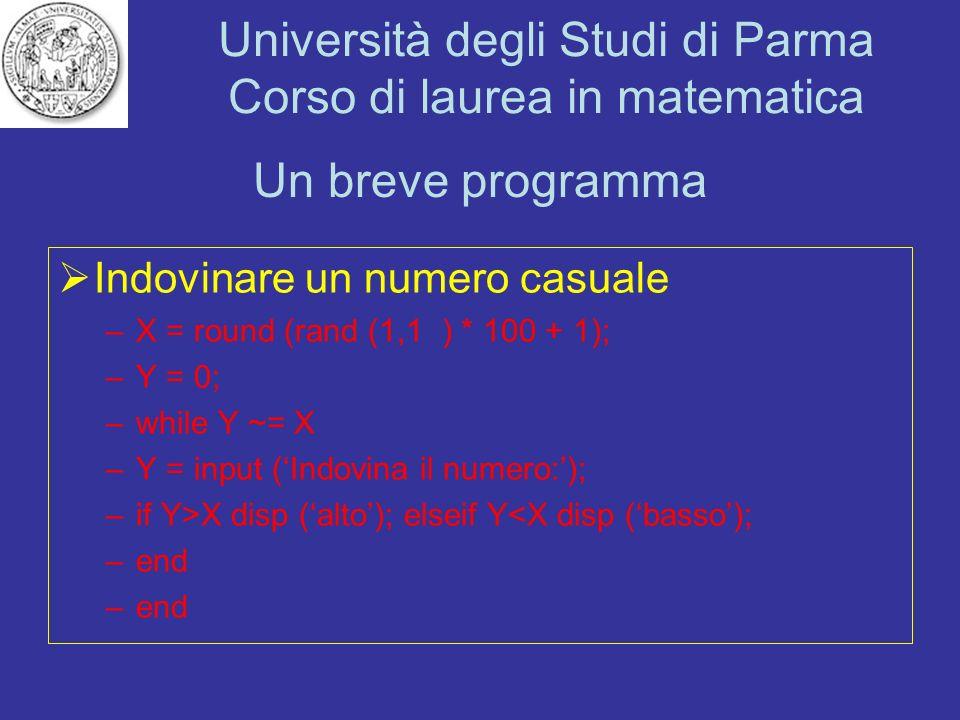 Università degli Studi di Parma Corso di laurea in matematica Un breve programma Indovinare un numero casuale –X = round (rand (1,1) * 100 + 1); –Y =
