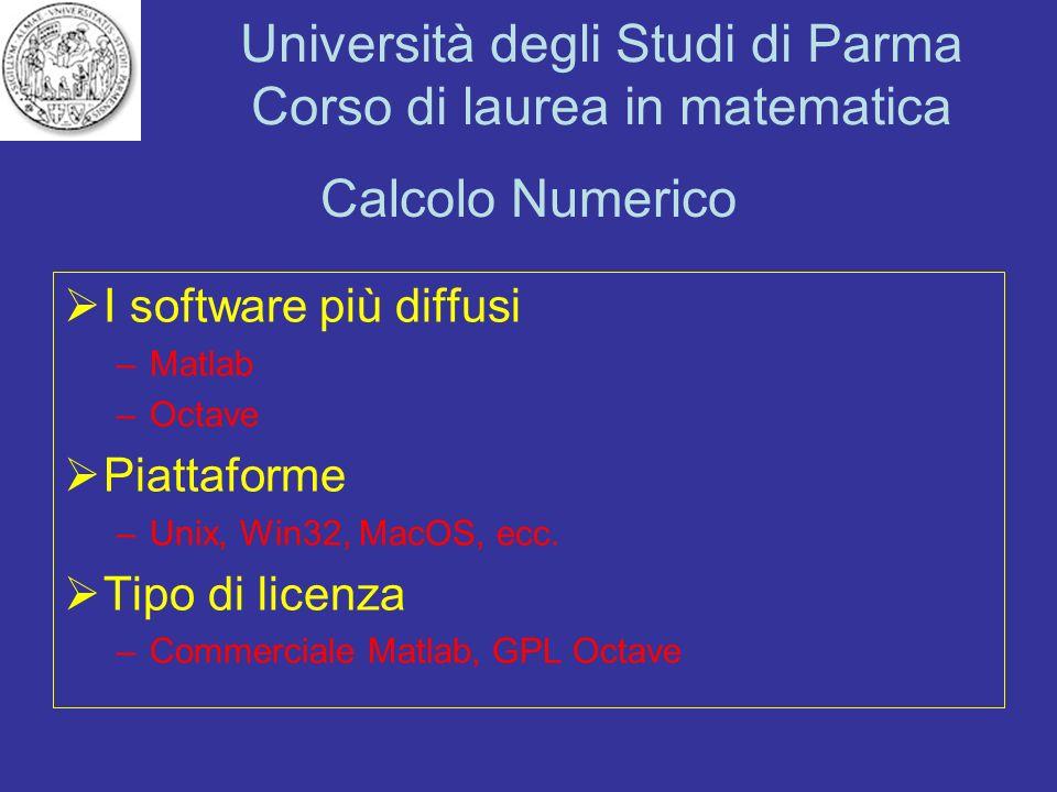Università degli Studi di Parma Corso di laurea in matematica Calcolo Numerico I software più diffusi –Matlab –Octave Piattaforme –Unix, Win32, MacOS,