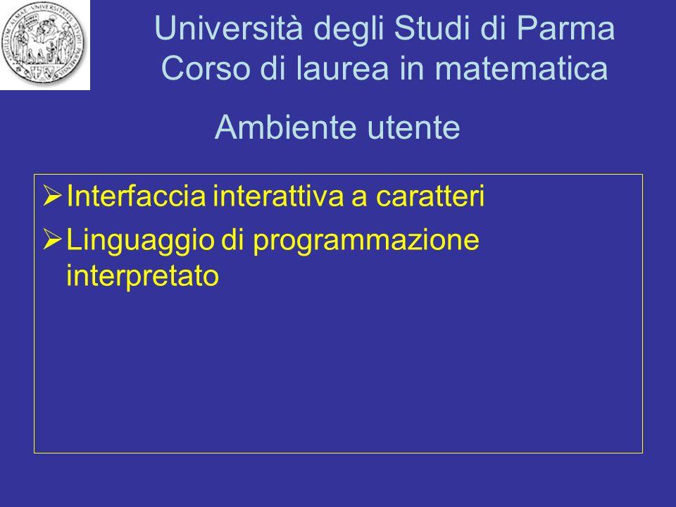 Università degli Studi di Parma Corso di laurea in matematica Ambiente utente Interfaccia interattiva a caratteri Linguaggio di programmazione interpr