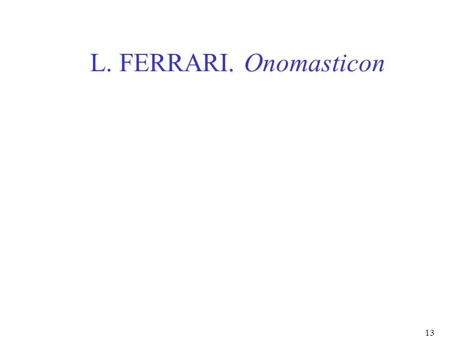 13 L. FERRARI. Onomasticon