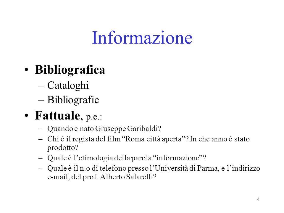 4 Informazione Bibliografica –Cataloghi –Bibliografie Fattuale, p.e.: –Quando è nato Giuseppe Garibaldi? –Chi è il regista del film Roma città aperta?