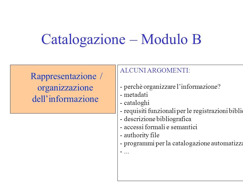 11 Catalogazione – Modulo B Rappresentazione / organizzazione dellinformazione ALCUNI ARGOMENTI: - perchè organizzare linformazione? - metadati - cata