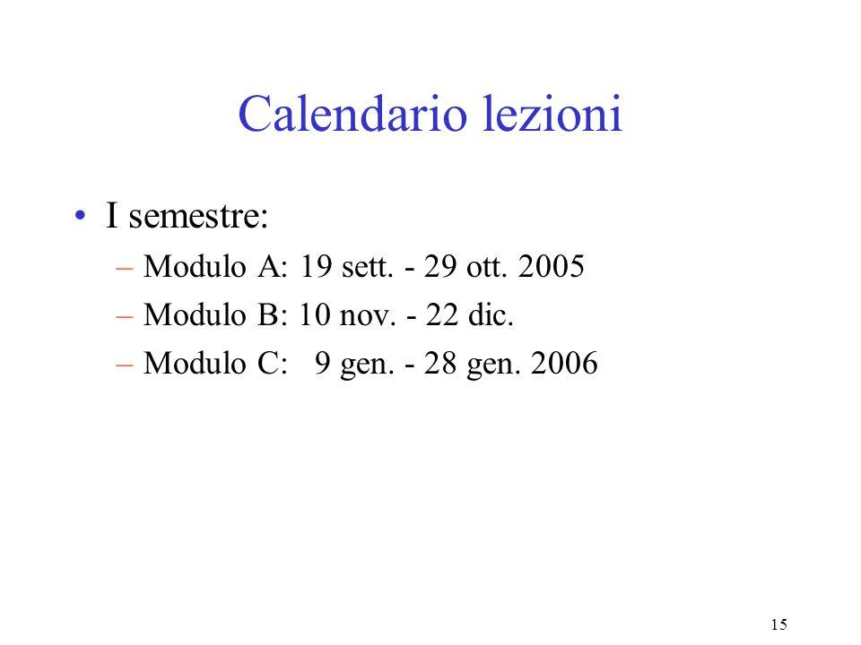 15 Calendario lezioni I semestre: –Modulo A: 19 sett. - 29 ott. 2005 –Modulo B: 10 nov. - 22 dic. –Modulo C: 9 gen. - 28 gen. 2006