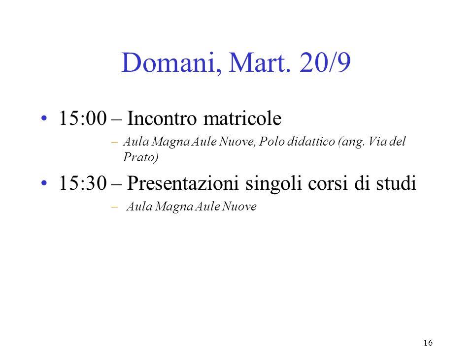 16 Domani, Mart. 20/9 15:00 – Incontro matricole –Aula Magna Aule Nuove, Polo didattico (ang.