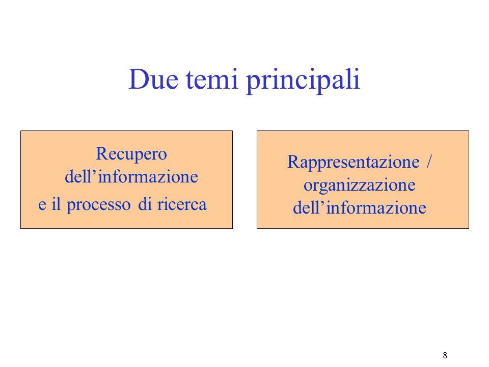 8 Due temi principali Rappresentazione / organizzazione dellinformazione Recupero dellinformazione e il processo di ricerca
