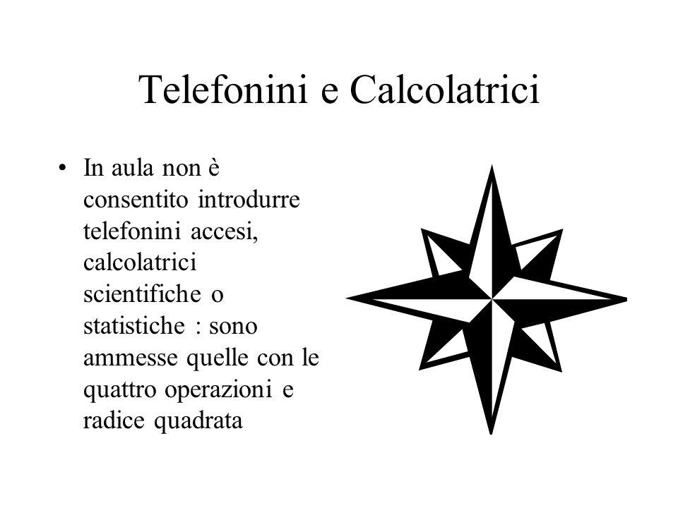 Telefonini e Calcolatrici In aula non è consentito introdurre telefonini accesi, calcolatrici scientifiche o statistiche : sono ammesse quelle con le quattro operazioni e radice quadrata