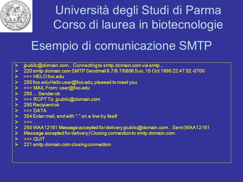 Università degli Studi di Parma Corso di laurea in biotecnologie Esempio di comunicazione SMTP jpublic@domain.com... Connecting to smtp.domain.com via