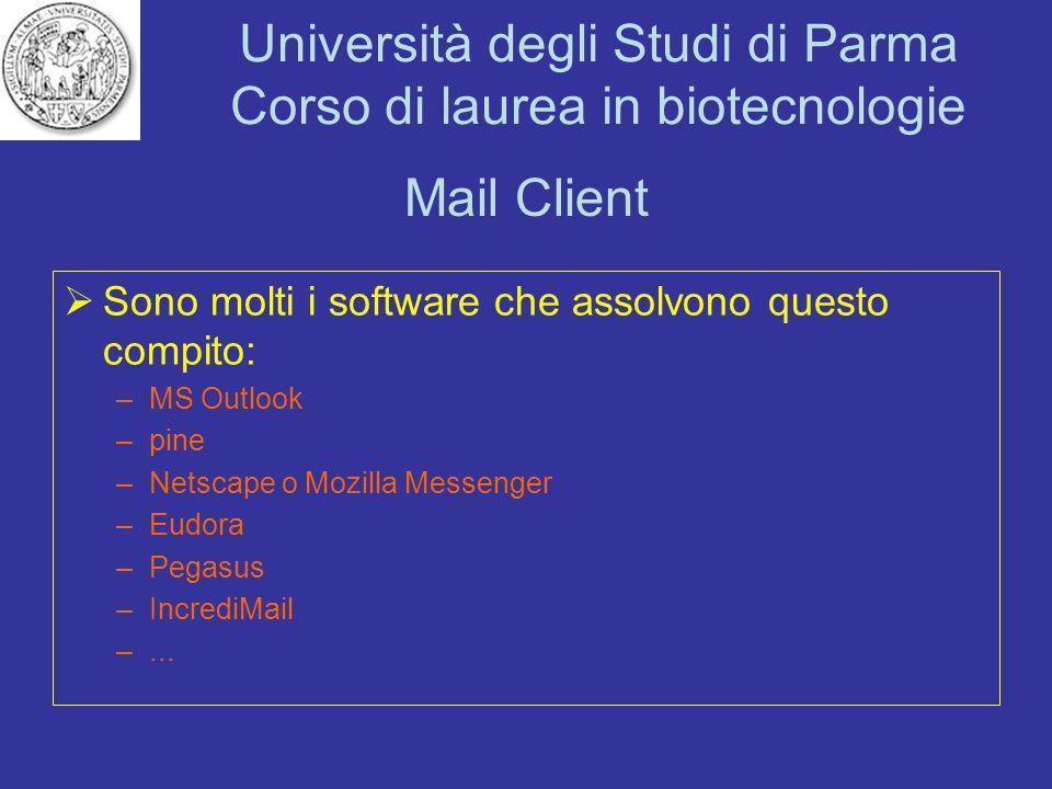 Università degli Studi di Parma Corso di laurea in biotecnologie Mail Client Sono molti i software che assolvono questo compito: –MS Outlook –pine –Ne