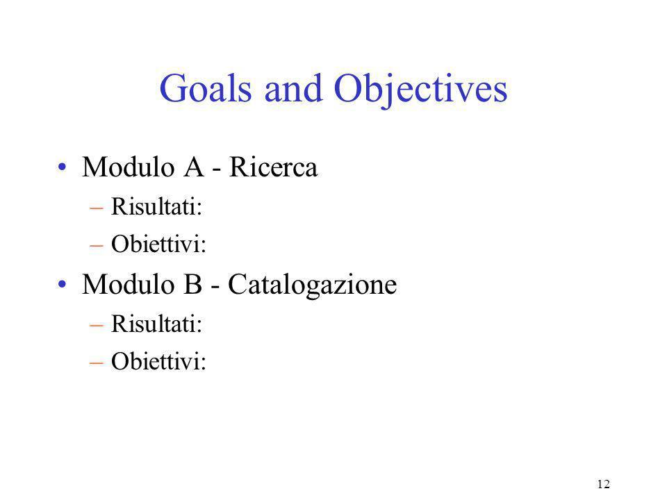 12 Goals and Objectives Modulo A - Ricerca –Risultati: –Obiettivi: Modulo B - Catalogazione –Risultati: –Obiettivi: