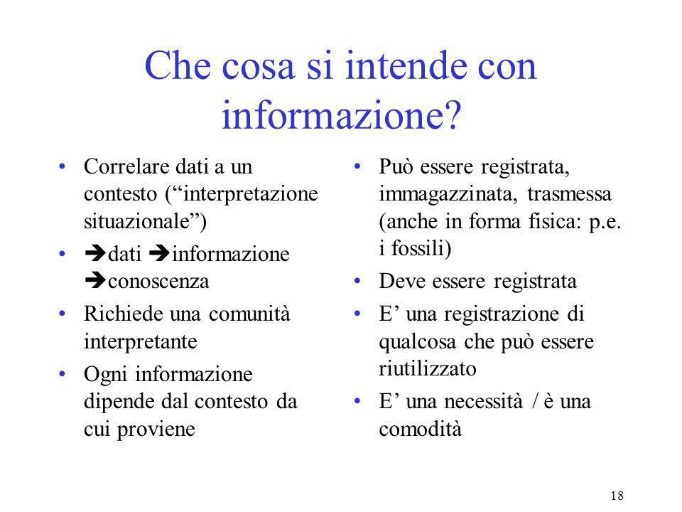 18 Che cosa si intende con informazione.
