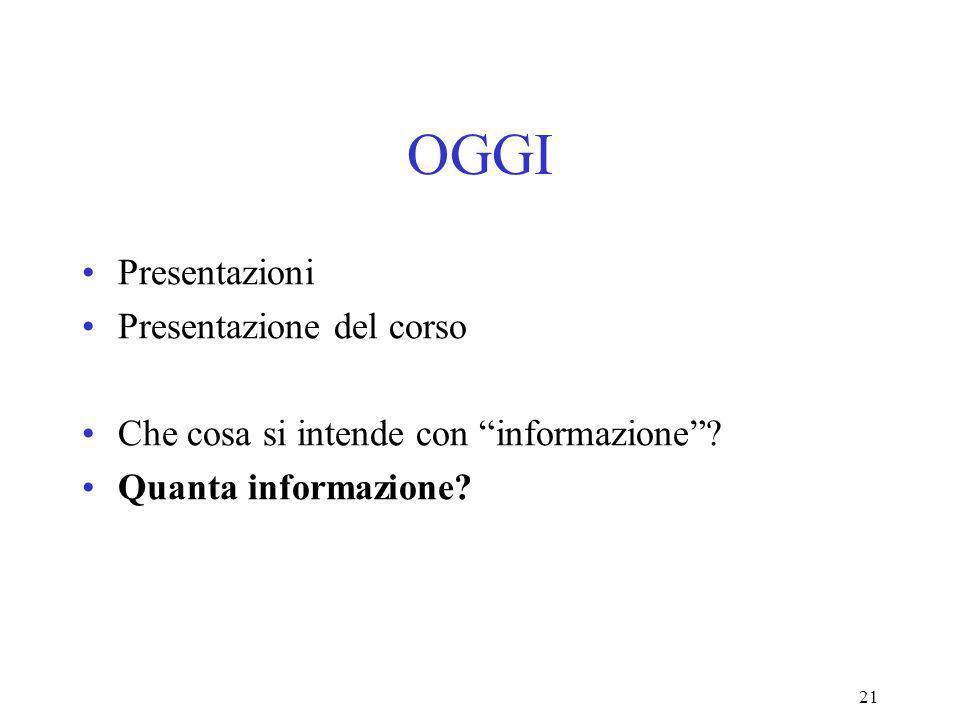 21 OGGI Presentazioni Presentazione del corso Che cosa si intende con informazione.