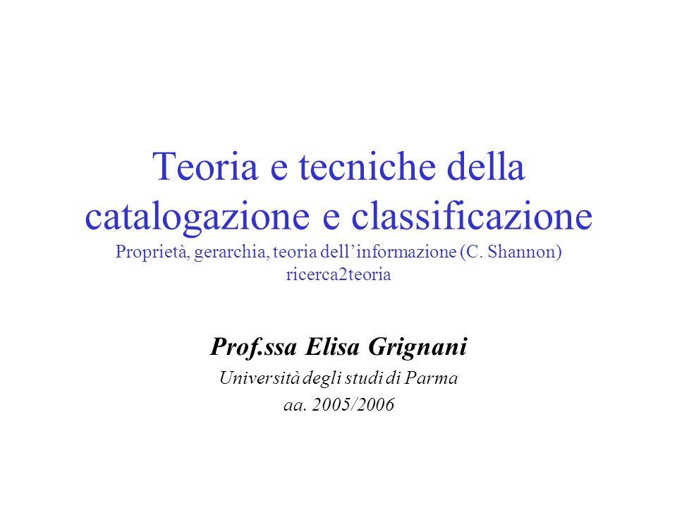 Teoria e tecniche della catalogazione e classificazione Proprietà, gerarchia, teoria dellinformazione (C. Shannon) ricerca2teoria Prof.ssa Elisa Grign