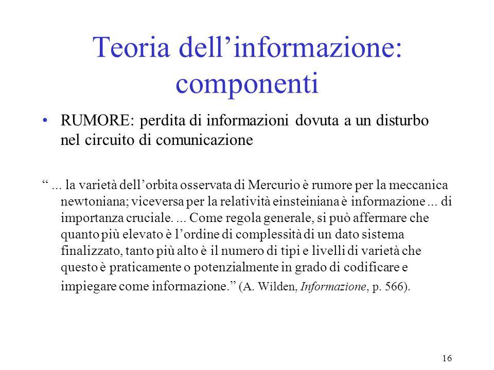 16 Teoria dellinformazione: componenti RUMORE: perdita di informazioni dovuta a un disturbo nel circuito di comunicazione... la varietà dellorbita oss