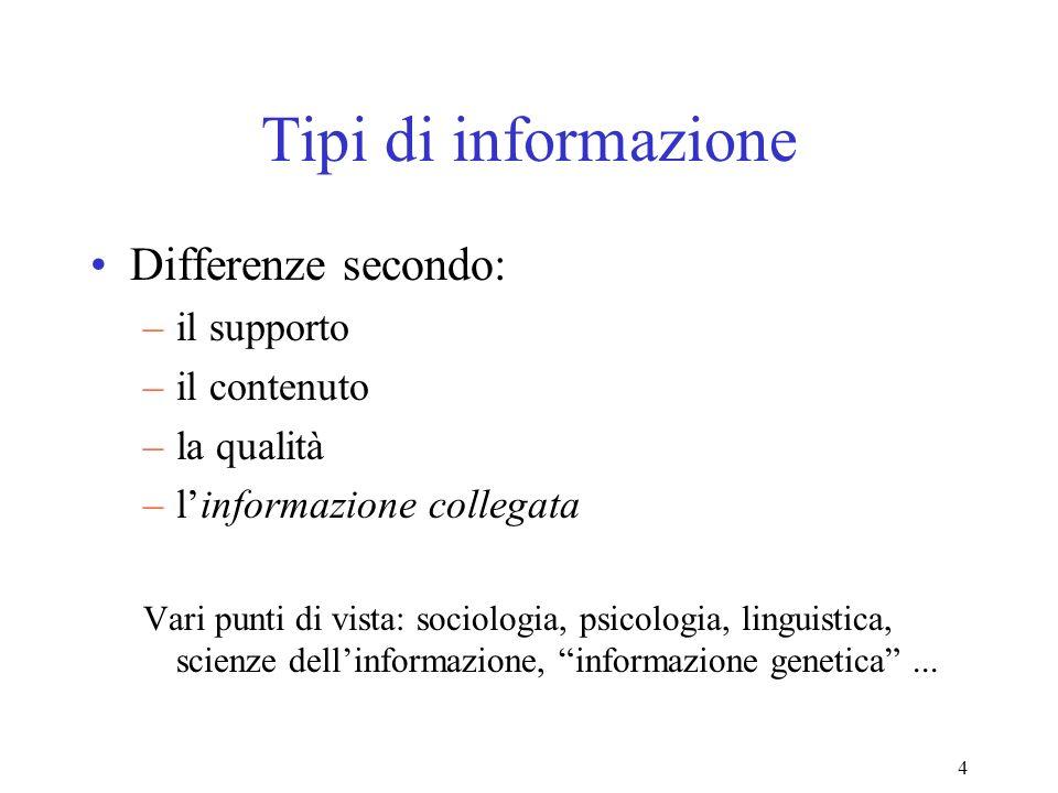 4 Tipi di informazione Differenze secondo: –il supporto –il contenuto –la qualità –linformazione collegata Vari punti di vista: sociologia, psicologia