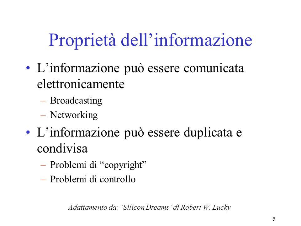 5 Proprietà dellinformazione Linformazione può essere comunicata elettronicamente –Broadcasting –Networking Linformazione può essere duplicata e condi