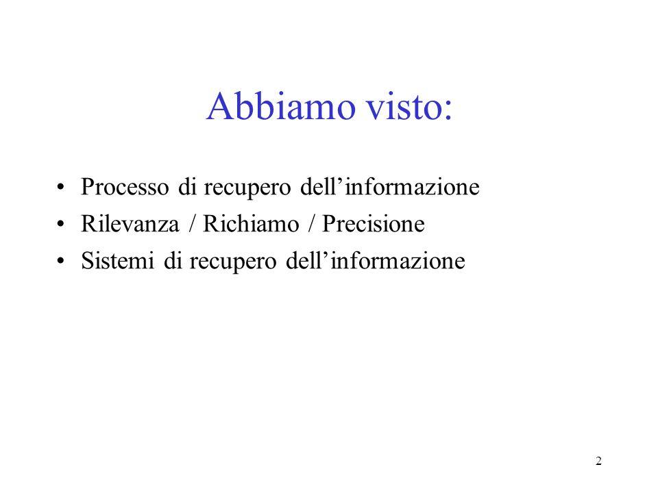 2 Abbiamo visto: Processo di recupero dellinformazione Rilevanza / Richiamo / Precisione Sistemi di recupero dellinformazione