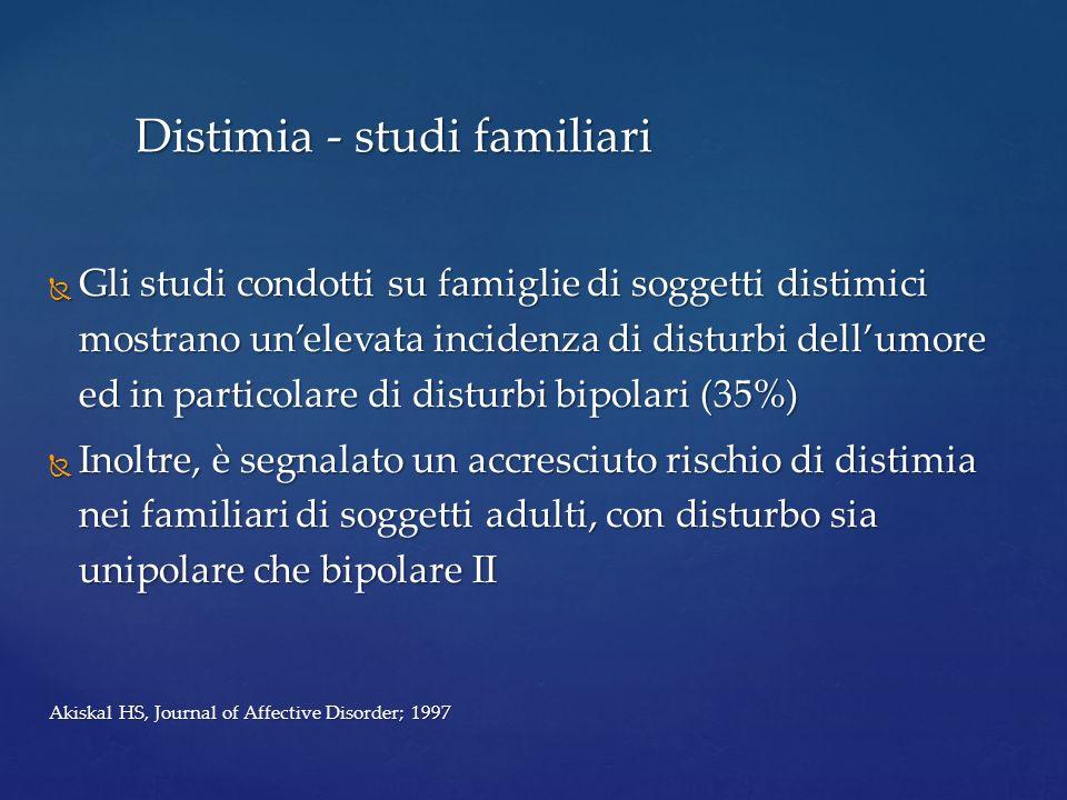 Gli studi condotti su famiglie di soggetti distimici mostrano unelevata incidenza di disturbi dellumore ed in particolare di disturbi bipolari (35%) G