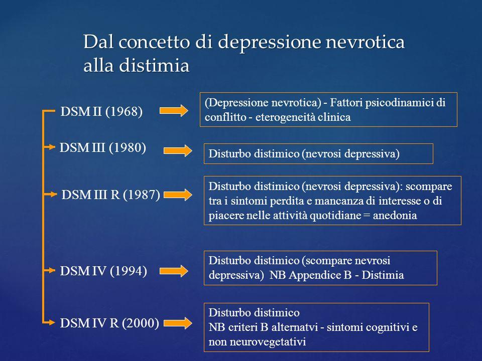Dal concetto di depressione nevrotica alla distimia DSM II (1968) (Depressione nevrotica) - Fattori psicodinamici di conflitto - eterogeneità clinica