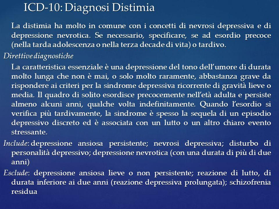 La distimia ha molto in comune con i concetti di nevrosi depressiva e di depressione nevrotica. Se necessario, specificare, se ad esordio precoce (nel