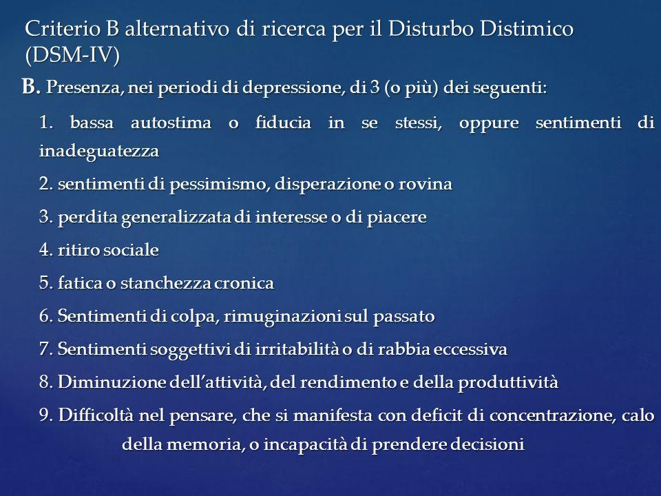 B. Presenza, nei periodi di depressione, di 3 (o più) dei seguenti: 1. bassa autostima o fiducia in se stessi, oppure sentimenti di inadeguatezza 2. s