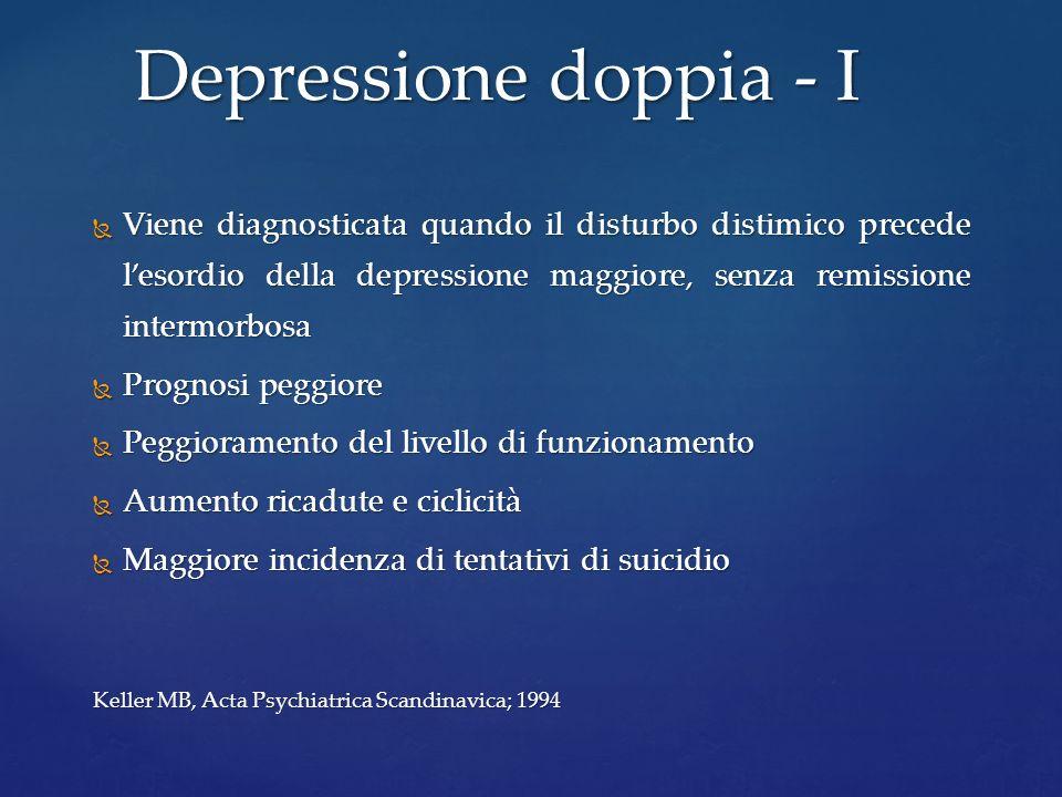 Viene diagnosticata quando il disturbo distimico precede lesordio della depressione maggiore, senza remissione intermorbosa Viene diagnosticata quando