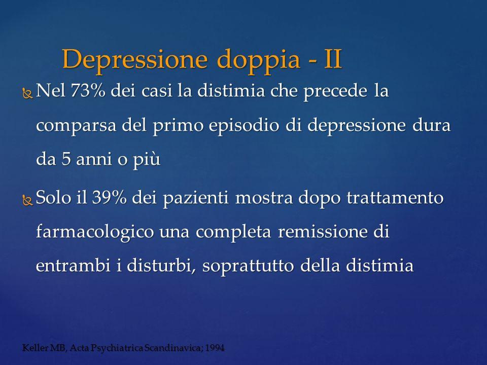 Nel 73% dei casi la distimia che precede la comparsa del primo episodio di depressione dura da 5 anni o più Nel 73% dei casi la distimia che precede l