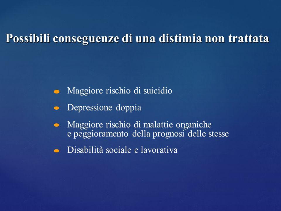 Maggiore rischio di suicidio Depressione doppia Maggiore rischio di malattie organiche e peggioramento della prognosi delle stesse Disabilità sociale