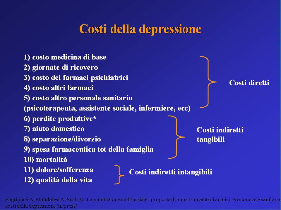 Sagripanti A; Mandolesi A; Scali M: La valutazione multiassiale : proposta di uno strumento di analisi economica e sanitaria sui costi della depressio