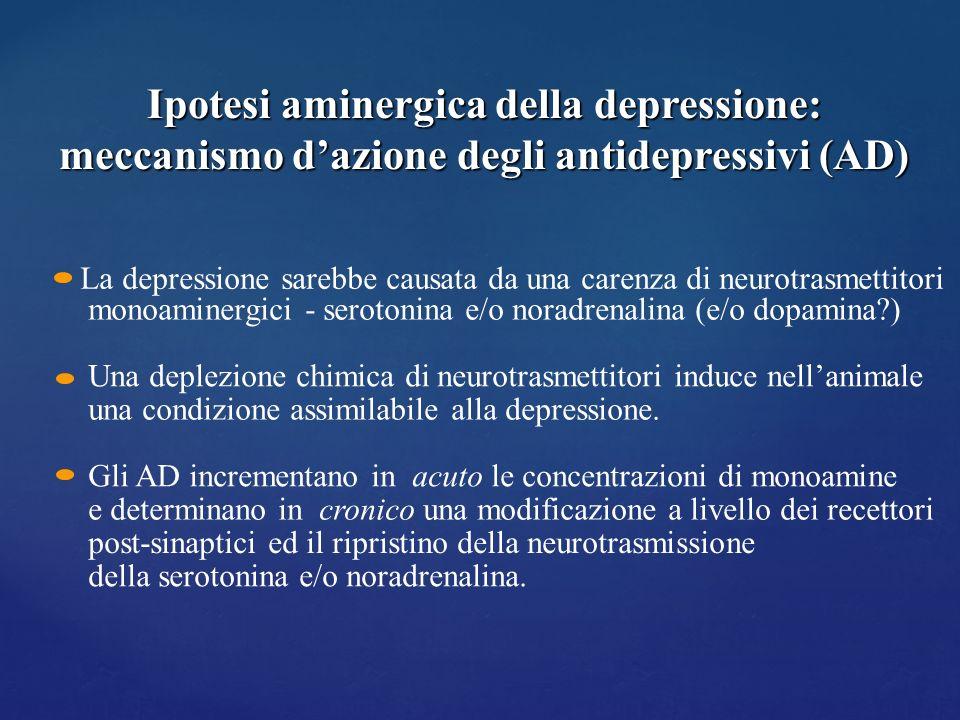 La depressione sarebbe causata da una carenza di neurotrasmettitori monoaminergici - serotonina e/o noradrenalina (e/o dopamina?) Una deplezione chimi