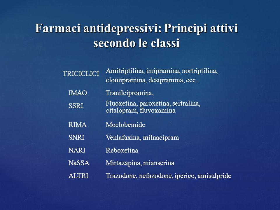 TRICICLICI IMAO SSRI RIMA SNRI NARI NaSSA ALTRI Amitriptilina, imipramina, nortriptilina, clomipramina, desipramina, ecc.. Tranilcipromina, Fluoxetina