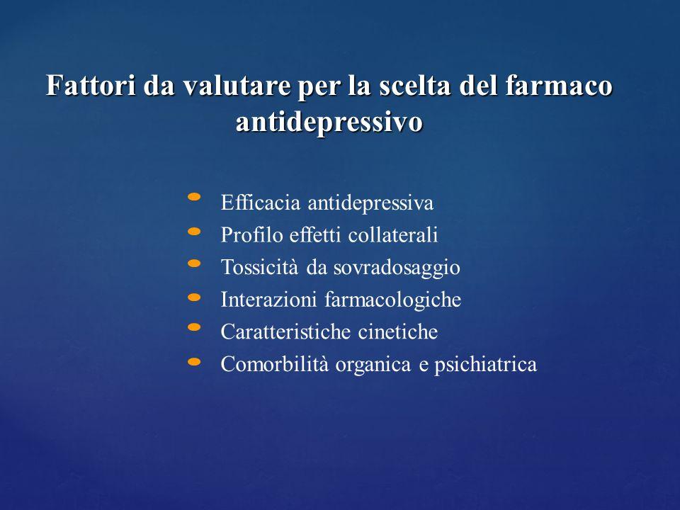 Efficacia antidepressiva Profilo effetti collaterali Tossicità da sovradosaggio Interazioni farmacologiche Caratteristiche cinetiche Comorbilità organ