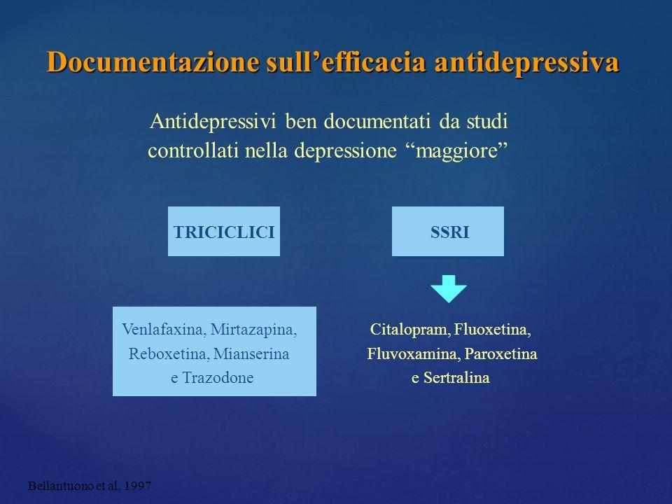 Antidepressivi ben documentati da studi controllati nella depressione maggiore TRICICLICISSRI Venlafaxina, Mirtazapina, Reboxetina, Mianserina e Trazo