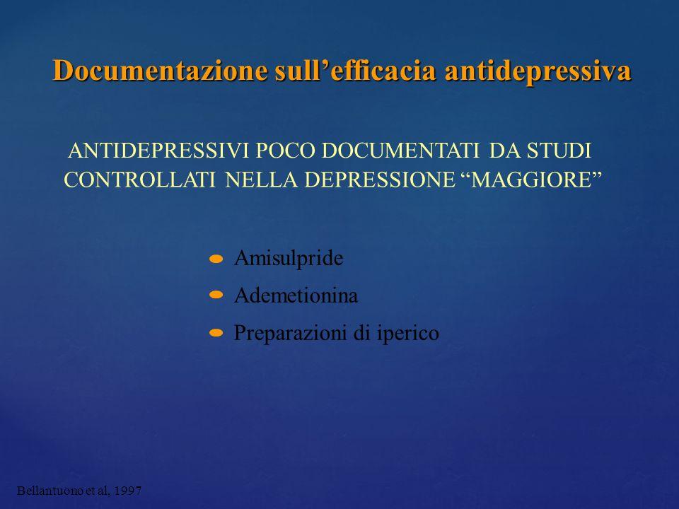 Bellantuono et al, 1997 ANTIDEPRESSIVI POCO DOCUMENTATI DA STUDI CONTROLLATI NELLA DEPRESSIONE MAGGIORE Amisulpride Ademetionina Preparazioni di iperi