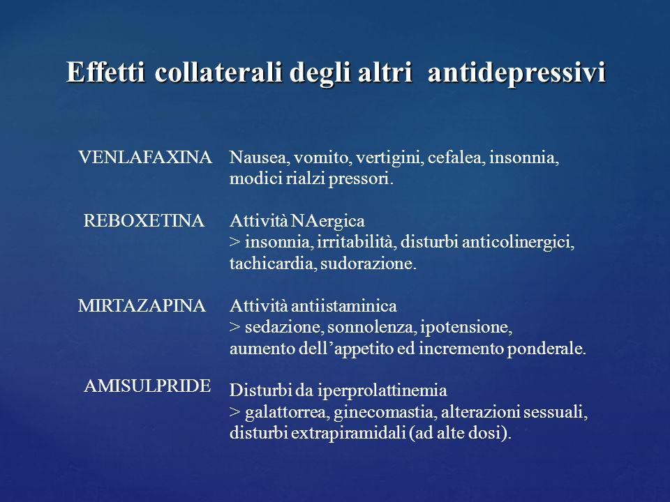 Effetti collaterali degli altri antidepressivi VENLAFAXINA REBOXETINA MIRTAZAPINA AMISULPRIDE Nausea, vomito, vertigini, cefalea, insonnia, modici ria
