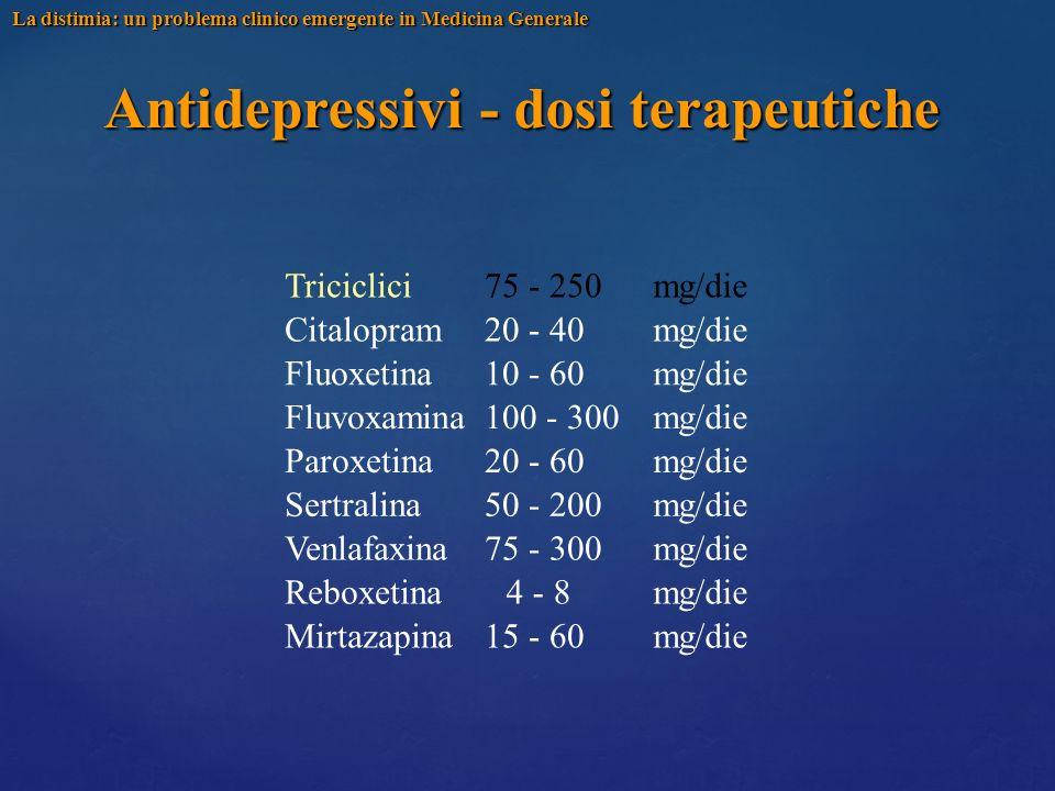 Antidepressivi - dosi terapeutiche Triciclici Citalopram Fluoxetina Fluvoxamina Paroxetina Sertralina Venlafaxina Reboxetina Mirtazapina 75 - 250 20 -