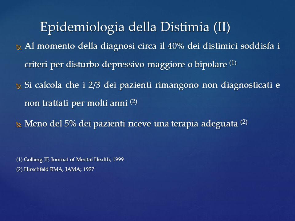 Al momento della diagnosi circa il 40% dei distimici soddisfa i criteri per disturbo depressivo maggiore o bipolare (1) Al momento della diagnosi circ