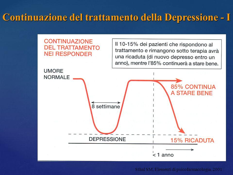 Continuazione del trattamento della Depressione - I Sthal SM, Elementi di psicofarmacologia, 2001