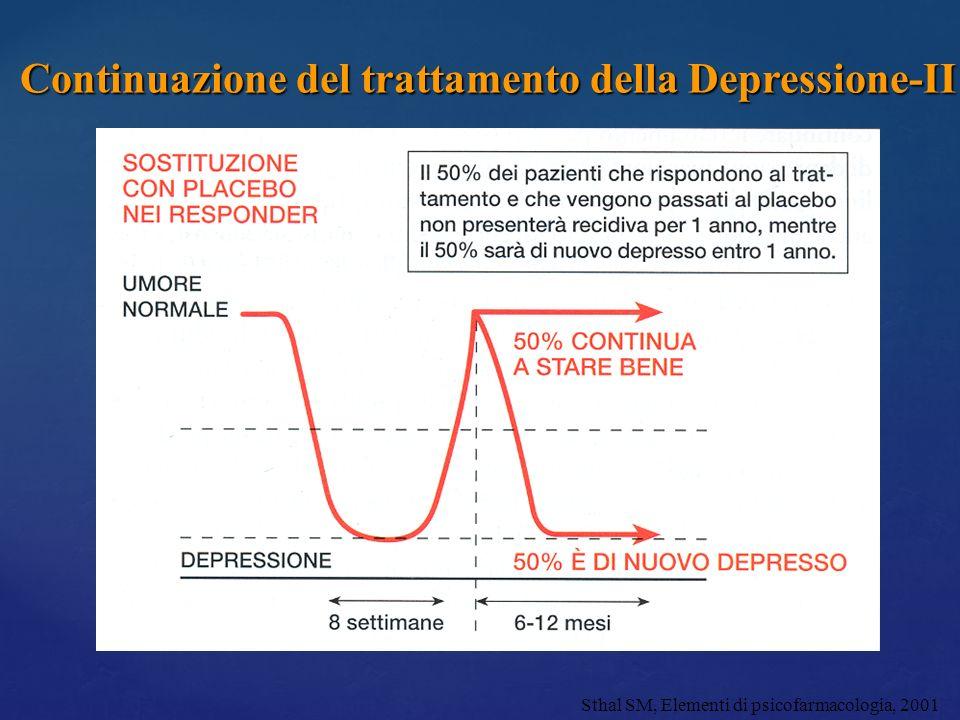 Continuazione del trattamento della Depressione-II Sthal SM, Elementi di psicofarmacologia, 2001