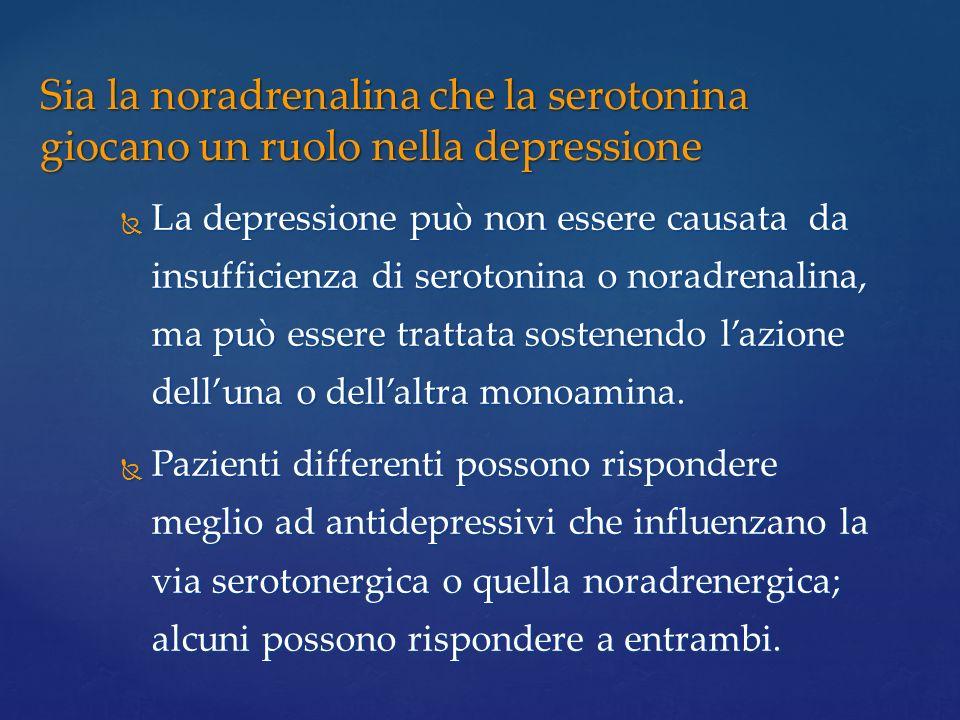 La depressione può non essere causata da insufficienza di serotonina o noradrenalina, ma può essere trattata sostenendo lazione delluna o dellaltra mo