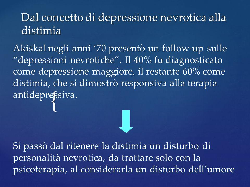 { Dal concetto di depressione nevrotica alla distimia Akiskal negli anni 70 presentò un follow-up sulle depressioni nevrotiche. Il 40% fu diagnosticat