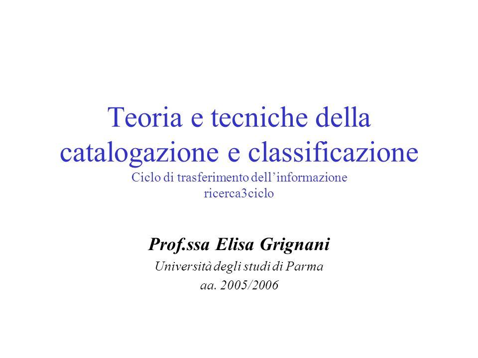 Teoria e tecniche della catalogazione e classificazione Ciclo di trasferimento dellinformazione ricerca3ciclo Prof.ssa Elisa Grignani Università degli studi di Parma aa.
