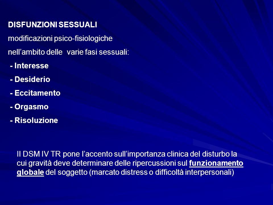 DISFUNZIONI SESSUALI modificazioni psico-fisiologiche nellambito delle varie fasi sessuali: - Interesse - Desiderio - Eccitamento - Orgasmo - Risoluzi