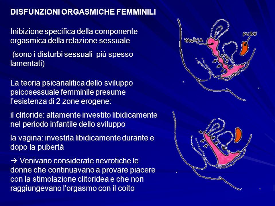 DISFUNZIONI ORGASMICHE FEMMINILI Inibizione specifica della componente orgasmica della relazione sessuale (sono i disturbi sessuali più spesso lamenta