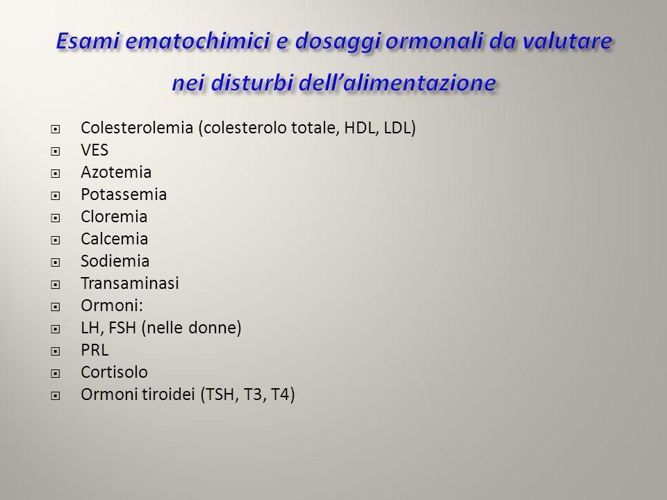 Colesterolemia (colesterolo totale, HDL, LDL) VES Azotemia Potassemia Cloremia Calcemia Sodiemia Transaminasi Ormoni: LH, FSH (nelle donne) PRL Cortis