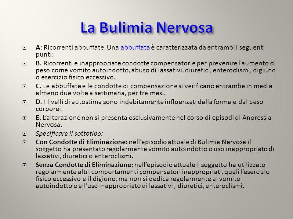 Bulimia nervosa: assessment clinico- psicologico Bulimia nervosa: assessment clinico- psicologico Fattori predisponenti Fattori predisponenti: individuali, sociali, familiari, culturali, genetici.