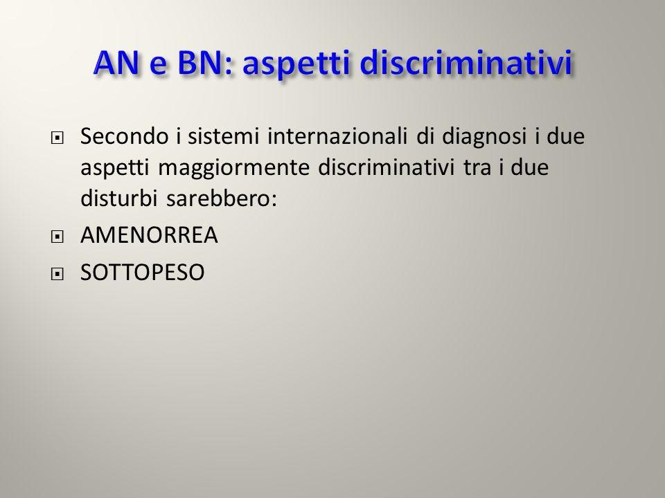 Secondo i sistemi internazionali di diagnosi i due aspetti maggiormente discriminativi tra i due disturbi sarebbero: AMENORREA SOTTOPESO