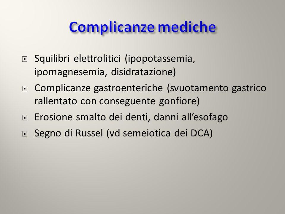 Squilibri elettrolitici (ipopotassemia, ipomagnesemia, disidratazione) Complicanze gastroenteriche (svuotamento gastrico rallentato con conseguente go