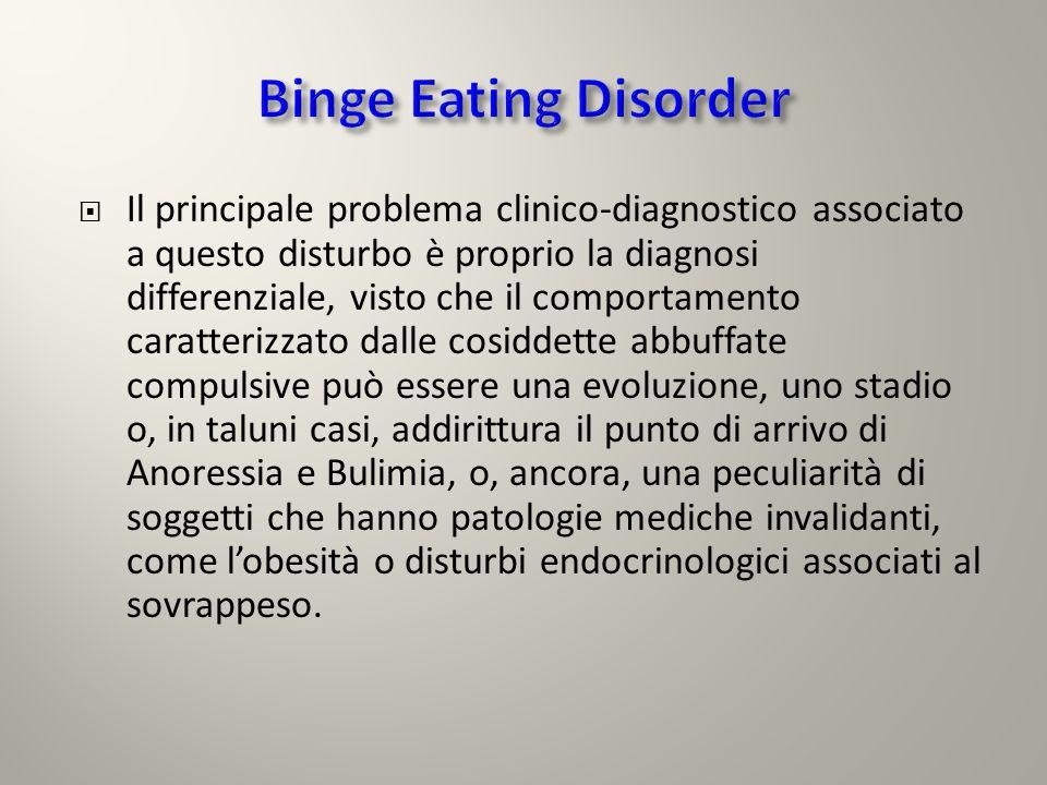 La valutazione psicodiagnostica del soggetto con Disturbo da Alimentazione Incontrollata è sovrapponibile a quello utilizzato nellAnoressia e nella Bulimia.
